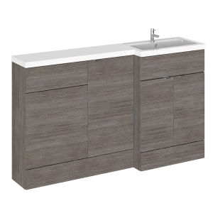 Image for Hudson Reed Right Handed Combination Unit with 500mm WC Unit - 1502mm Wide - Grey Avola 1 Tap Hole
