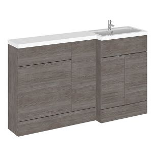 Image for Hudson Reed Right Handed Combination Unit with 600mm WC Unit - 1502mm Wide - Grey Avola 1 Tap Hole