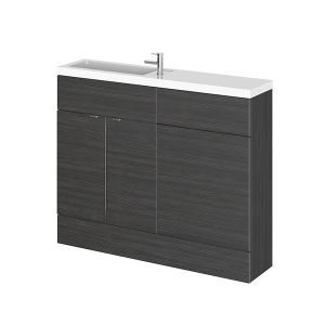Image for Hudson Reed Compact Combination Unit with Slimline Basin - 1102mm Wide - Hacienda Black 1 Tap Hole
