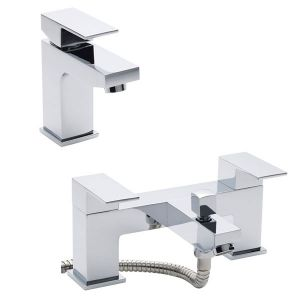 Image for Hudson Reed Art Mono Basin Mixer Tap and Bath Shower Mixer Tap - Chrome