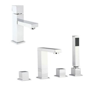Image for Hudson Reed Kubix Mono Basin Mixer Tap and Bath Shower Mixer Tap - Chrome