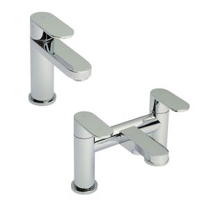 Image for Hudson Reed Cloud 9 Mono Basin Mixer Tap and Bath Filler Tap - Chrome