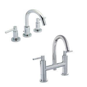Image for Hudson Reed Tec Lever Basin Mixer Tap and Bath Filler Tap - Chrome