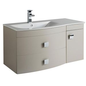 Image for Hudson Reed Sarenna LH Wall Hung Vanity Unit and Basin 1012mm Wide Cashmere 1 Tap Hole