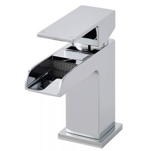 Image for Hudson Reed Waterfall Mini Mono Basin Mixer Single Handle with Push Button Waste - Chrome