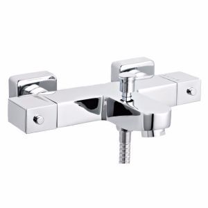 Image for Ultra Square Thermostatic Bath Shower Mixer Tap Wall Mounted - Chrome