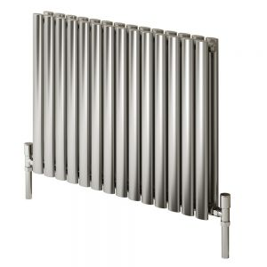 Image for Reina Nerox Double Designer Horizontal Radiator 600mm H x 413mm W Brushed Stainless Steel