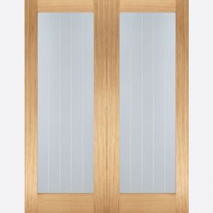 Image for LPD Unfinished Oak Mexicano Glazed Internal Door Pair