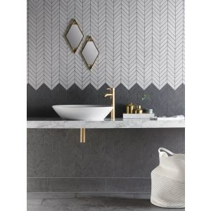 Image for Verona Izen Matt White Chevron Wall & Floor Mosaic (13 Per Box) - 248x313mm