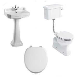 Image of Burlington Bathroom Suite, S-Trap Low Level Toilet, Lever Cistern