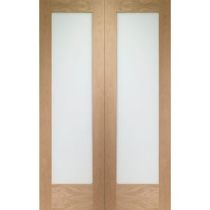 XL Joinery Pattern 10 Internal Oak Rebated Door Pair with Clear Glass