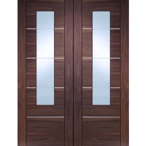Image For XL Joinery Portici Pre-Finished Internal Walnut Rebated Door Pair with Clear Glass