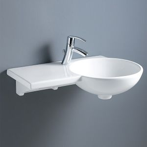 Image For RAK Gina Wall Mounted Basin with Left Hand Ceramic Ledge- 1 TH