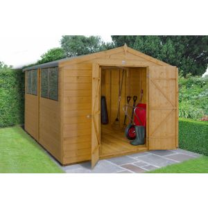 Image for Forest Shiplap Dip Treated Apex Garden Shed - Double Door - 10 x 8 ft