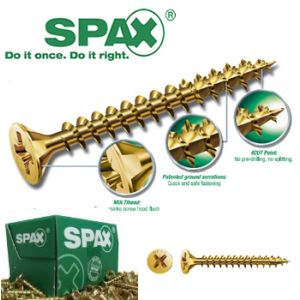 Image for SPAX Woodscrew Pozi Yellow 4.5 X 80mm 100 BOX