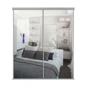 Image for Heritage Silver Framed Sliding Wardrobe Doors x 2 With Single Panel Mirror And Track - 2260mm High