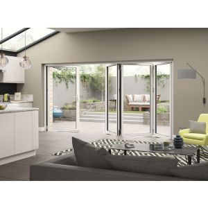 Image for JCI White Aluminium Pre Finished External 4 Bifold Doors Left Opening - 2090mm x 3990mm
