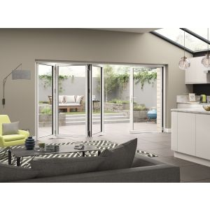 Image for JCI White Aluminium Pre Finished External 4 Bifold Doors Right Opening - 2090mm x 3590mm