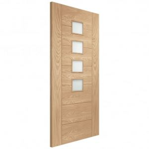 Image for XL Joinery Palermo Internal Oak Fire Door with Obscure Glass
