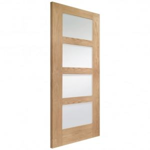 Image for XL Joinery Shaker 4 Light Internal Oak Door with Obscure Glass