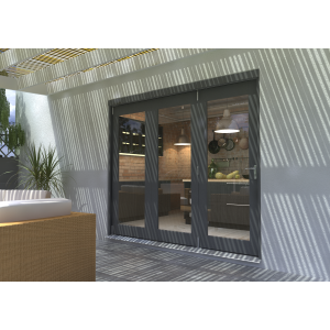 Image for Rohden Grey Fully Finished Bi-Fold External Doorset - 83in x 94in x 54mm (2100mm x 2400mm)