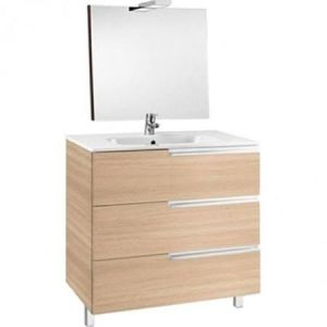 Image for Roca Victoria-N 700 Pack (Base Unit,Basin, Mirror And Two Spotlights) Textured Oak