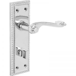 Image for Hiatt Hardware Georgian Scroll Polished Bathroom Door Handle - Chrome