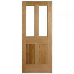 Image for LPD Malton Oak 2 Panel 2 Light Unglazed Exterior Door