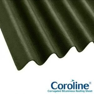 Image for Coroline Corrugated Bitumen Green Roof Sheets 2m x 950mm (855mm Cover) Pack of 6