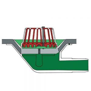 Image for Aluminium Roof Rainwater Outlet 90 Degree Spigot 50mm - Dome Grate