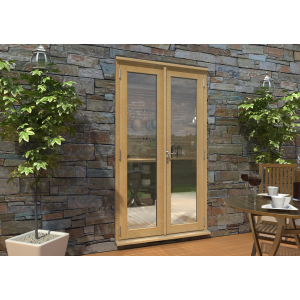 Image for Rohden Oak Unfinished Engineered External French Doorset - 83in x 47in x 44mm (2100mm x 1200mm)