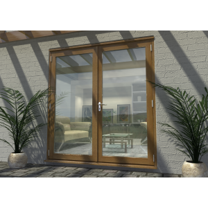 Image for Rohden Oak Fully Finished Engineered External French Doorset - 83in x 71in x 44mm (2100mm x 1800mm)