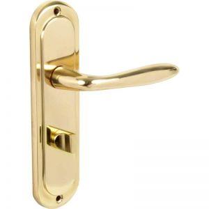 Image for Hiatt Hardware Mocho Brass Bathroom Door Handle Set