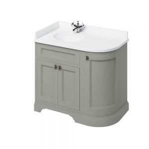 Image for Burlington Freestanding Corner  White  &  Olive Vanity Unit with Doors - 100cm Left Hand