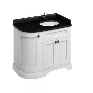 Image for Burlington Freestanding Corner  Black  &  White Vanity Unit with Doors - 100cm Right Hand