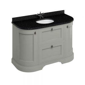 Image for Burlington Freestanding  Black  &  Olive Vanity Unit with Drawers - 134cm