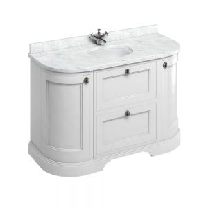 Image for Burlington Freestanding  White Carrara  &  White Vanity Unit with Drawers - 134cm