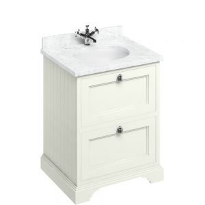 Image for Burlington Floorstanding 650mm Bathroom  Sand & Carrara White Vanity Unit with Drawers