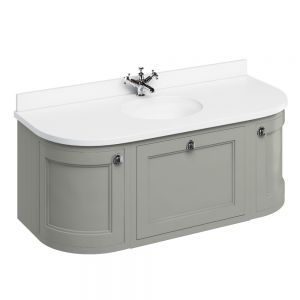 Image for Burlington 1000mm Wall Hung BathroomOlive & White Vanity Unit - Centre Basin