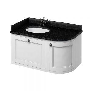 Image for Burlington 1000mm Wall Hung Bathroom White & Black Vanity Unit - Left Handed