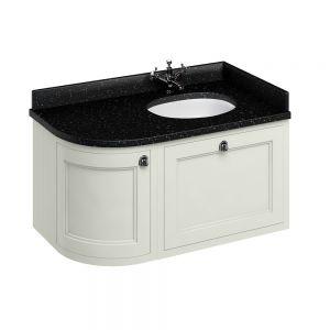 Image for Burlington 1000mm Wall Hung Bathroom Sand & Black Vanity Unit - Right Handed