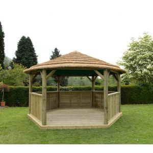 Image for Forest 4.7m Hexagonal Wooden Garden Gazebo with Thatched Roof - Cream Lining