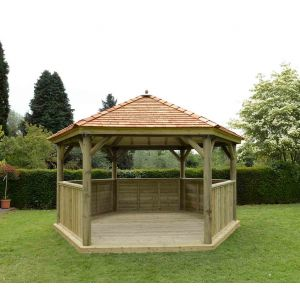 Image for Forest 4.7m Hexagonal Wooden Garden Gazebo with Cedar Roof