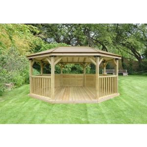 Image for Forest 5.1m Premium Oval Wooden Gazebo with Timber Roof