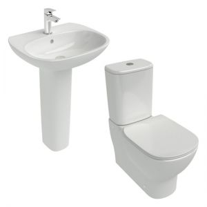 Image for Ideal Standard Tesi Complete Cloakroom Suite with Full Pedestal Basin - 600mm
