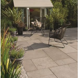 Image for Bradstone Riverwashed Limestone Steel Grey Patio Kit (48 Pavers)