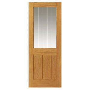 Image for Cotswold Oak Cottage 1/2 Light Glazed Internal Door Unfinished