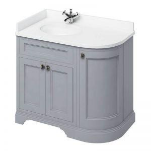 Image For Burlington 100 3-Door Classic Grey Corner Vanity Unit & Basin (Left Hand) - Minerva White Worktop