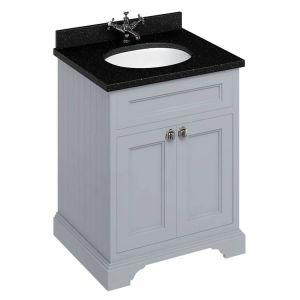 Image For Burlington 65 2-Door Vanity Unit & Basin - Black Granite Worktop