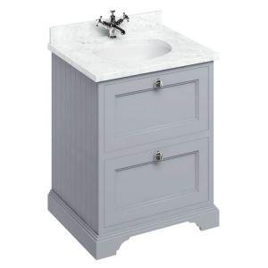 Image For Burlington 65 2-Drawer vanity Unit & Basin -  Carrara White Worktop